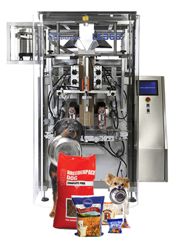 LE 360 VFFS Bagger packaging machine with product bags samples