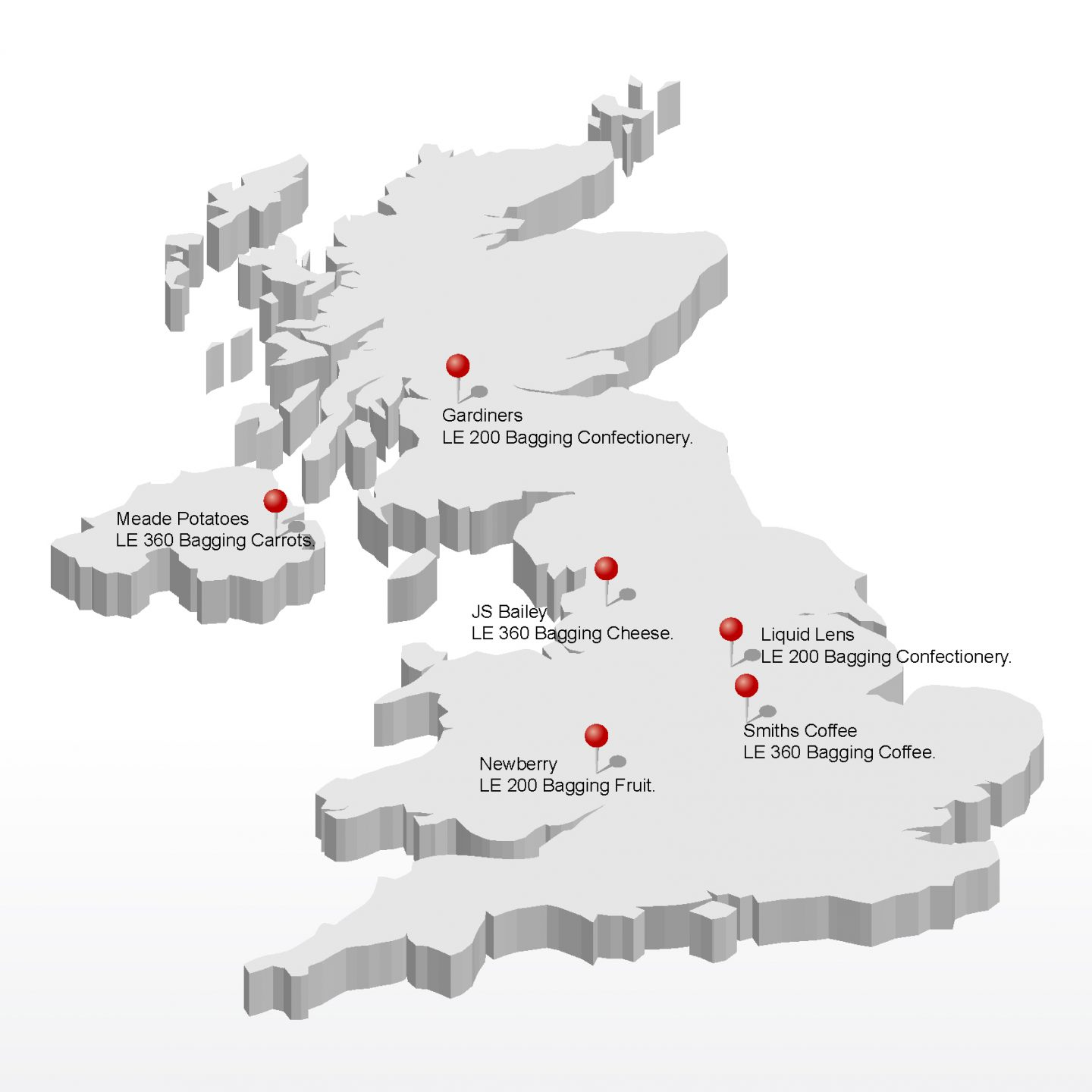 Map of UK VFFS machine installs August 2016